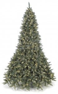 9' Frosted Mixed Needle Christmas Tree with Laser Glitter - Warm White Lights