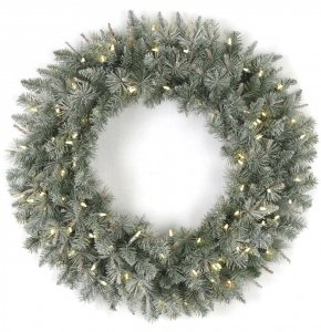 "36"" Frosted Mixed Wreath - 100 Warm White LED Lights - 36"" Width"
