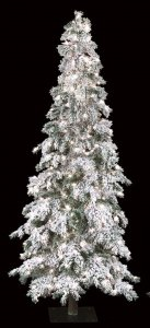 7' Flocked Carolina Pine Christmas Tree - Slim Size - 350 Warm White LED Lights