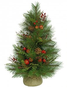 "24"" Sugar Pine Christmas Tree - Red Apples, Cedar, Huckleberry Leaf and Pine Cones"