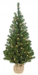 "36"" Mountain Pine Christmas Tree - 100 Clear Lights - Brown Burlap Base"
