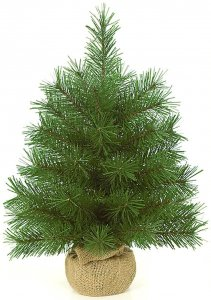 "18"" Dwarf Pine Christmas Tree - 42 Green Tips - 12"" Width - Brown Burlap Base"