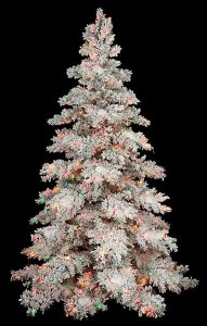 7.5' Heavy Flocked Snow Christmas Tree - Full Size - 550 Multi - Colored Lights
