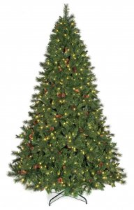 12' Columbia Spruce with Pine Cones - Full Size - 4,417 Green Tips- LED Lights
