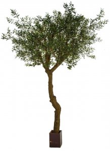 10 FOOT OLIVE TREE WITH PVC TRUNK AND WOOD POT