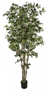 6.5' Deluxe Artificial Ficus Tree - Synthetic Trunk - 1,386 Leaves - Green - Weighted Base
