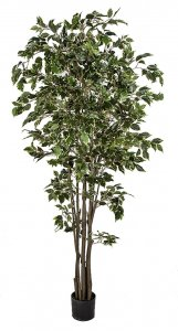 6' Deluxe Ficus Tree - Synthetic Trunk - 939 Leaves - Variegated Green/White - Weighted Base
