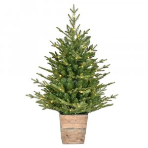 "3' x 30"" Gibson Slim Potted Pine Artificial Christmas Tree, Warm White Dura-lit LED Lights"