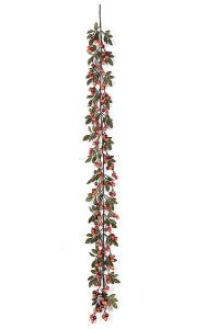 6' Crabapple Garland With Leaves