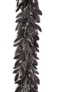 6' Plastic Glittered Bay Leaf Garland