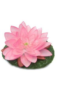 "7"" Water Lily with Raindrops - 1 Leaf - 1 Flower"