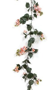 9.5' Bougainvillea Garland - 259 Green Leaves - 27 Purple Flower Clusters