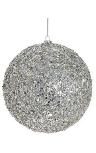 Beaded/Glittered Ball Ornament - Silver