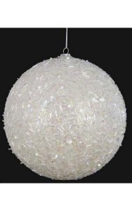 Beaded/Glittered Ball White