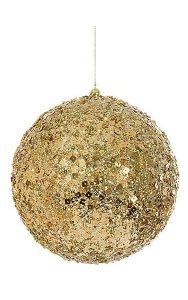 Sequined/Beaded Ball Ornament - Gold